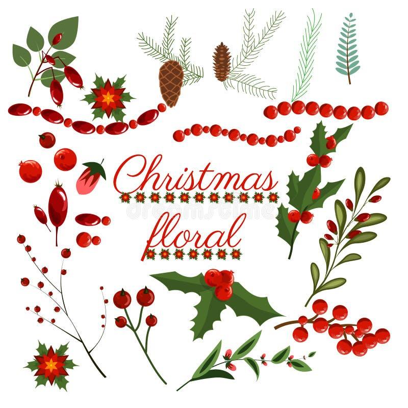 圣诞节花卉花圈冬天集合小花假日元素传染媒介艺术花设计例证花圈 库存例证
