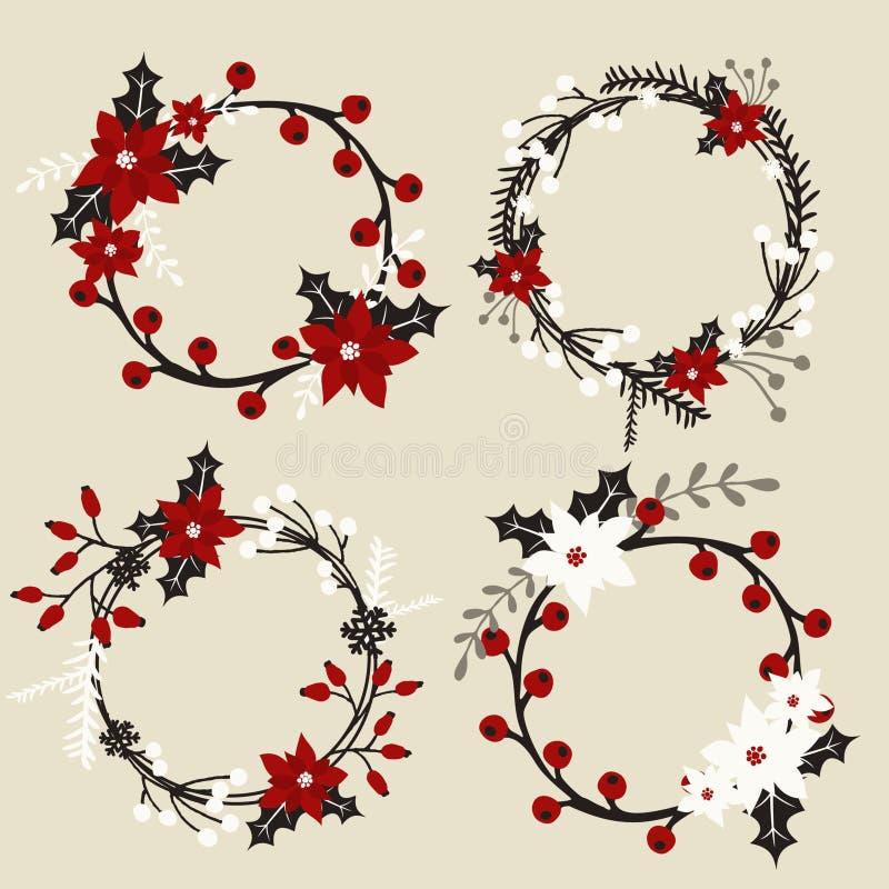 圣诞节花卉花圈收藏 皇族释放例证