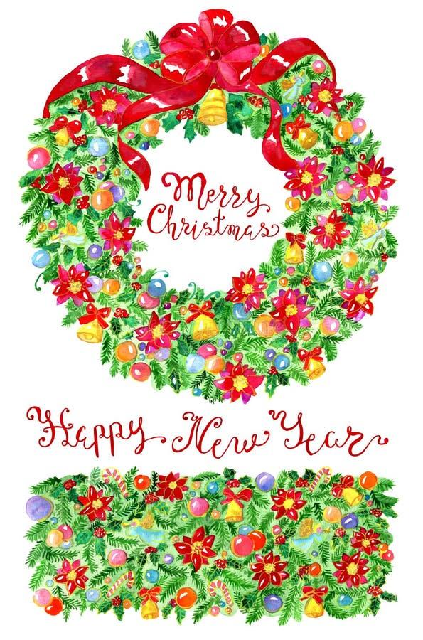 圣诞节花圈、新年装饰和诗歌选 向量例证