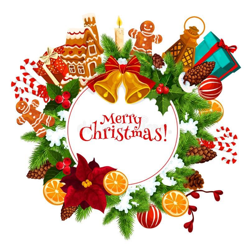 圣诞节花圈与新年礼物的贺卡 库存例证