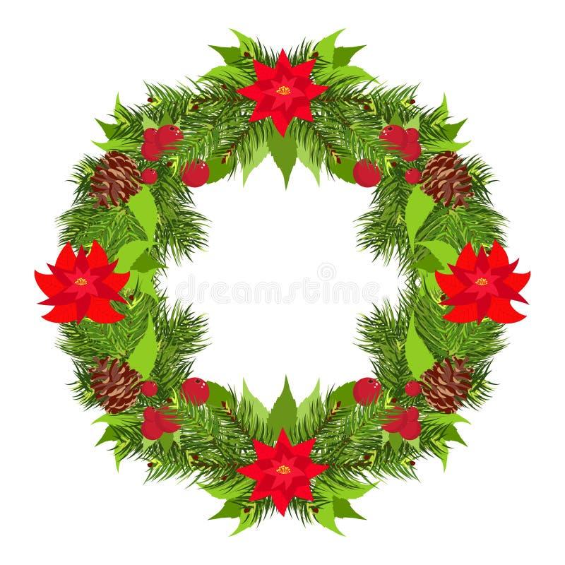 圣诞节花圈传染媒介 库存例证