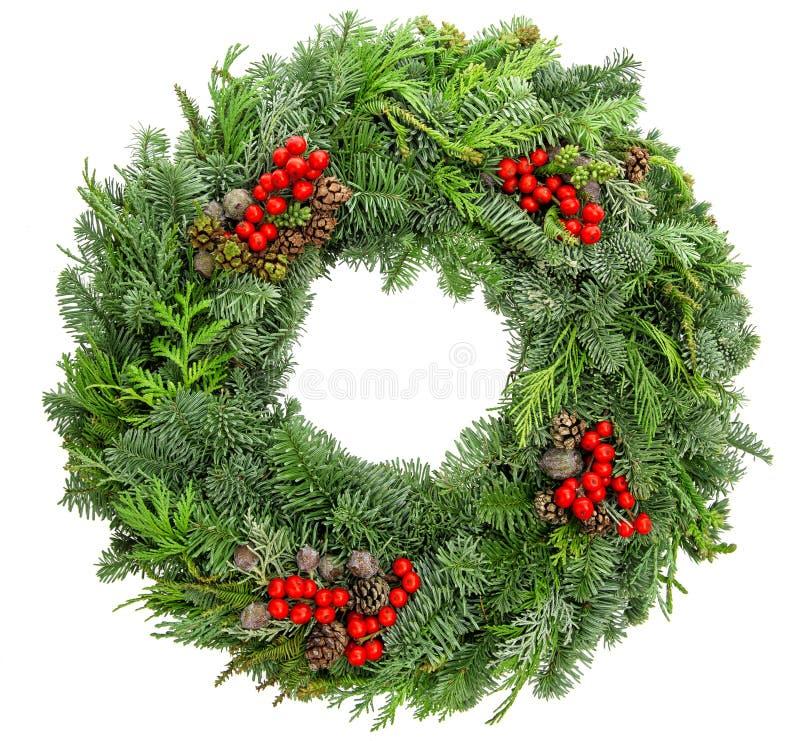 圣诞节花圈冷杉,杉木,云杉的枝杈用锥体红色莓果 免版税库存照片
