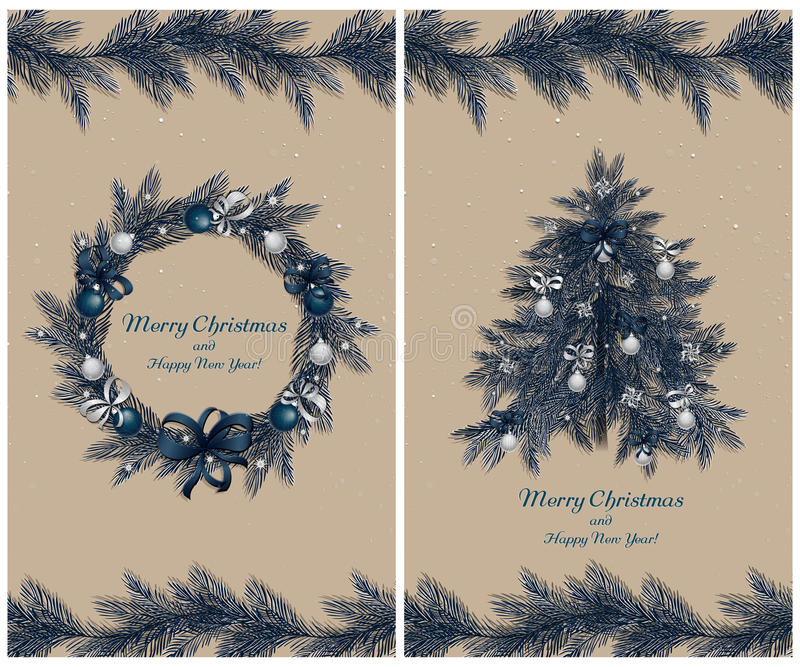 圣诞节花圈和树与装饰:球、丝带和星 套两张贺卡 皇族释放例证