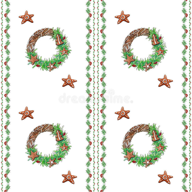 圣诞节花圈无缝的样式 免版税库存照片