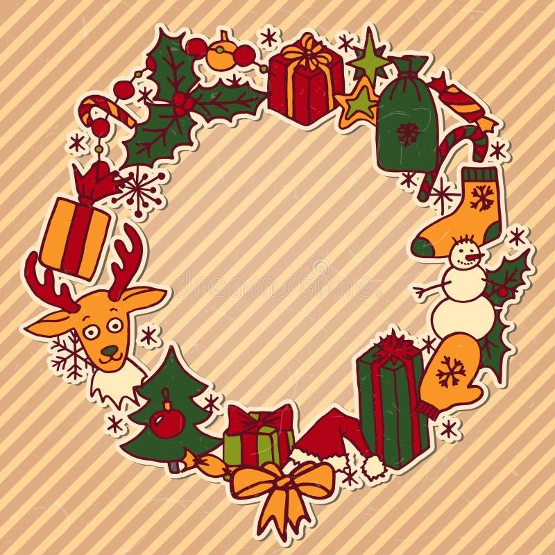 圣诞节花圈框架 皇族释放例证