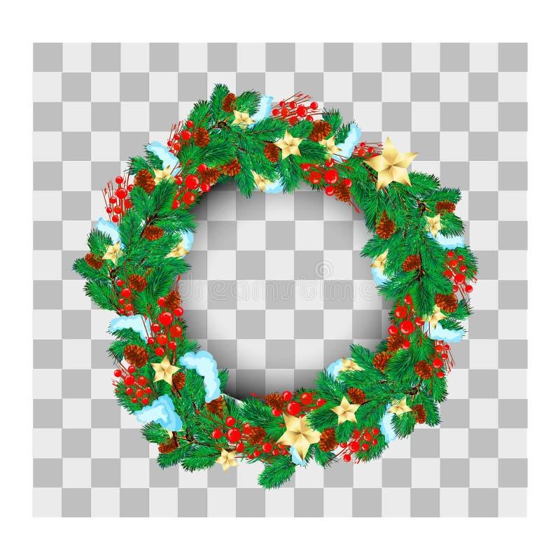 圣诞节花圈用金星和泡影装饰的由自然主义的看的杉木分支做成 皇族释放例证