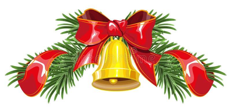 圣诞节花圈由冷杉制成分支与响铃和红色丝带 向量例证