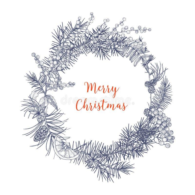 圣诞节花圈由冷杉和云杉的树做成,花楸浆果,橙色切片,霍莉叶子,星分支和锥体  皇族释放例证