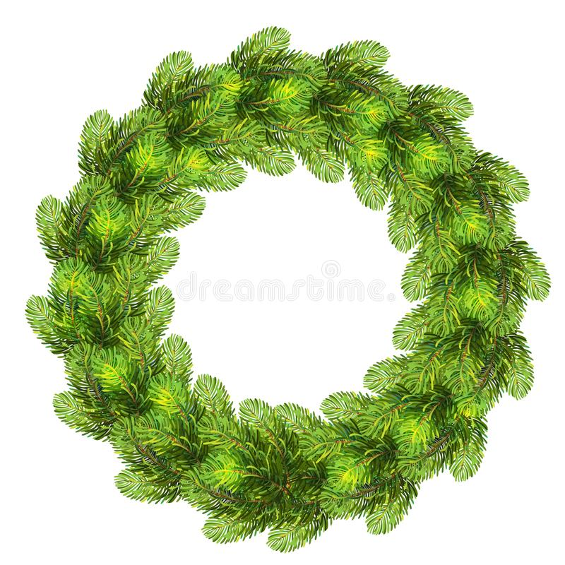 圣诞节花圈由现实杉树制成分支 皇族释放例证