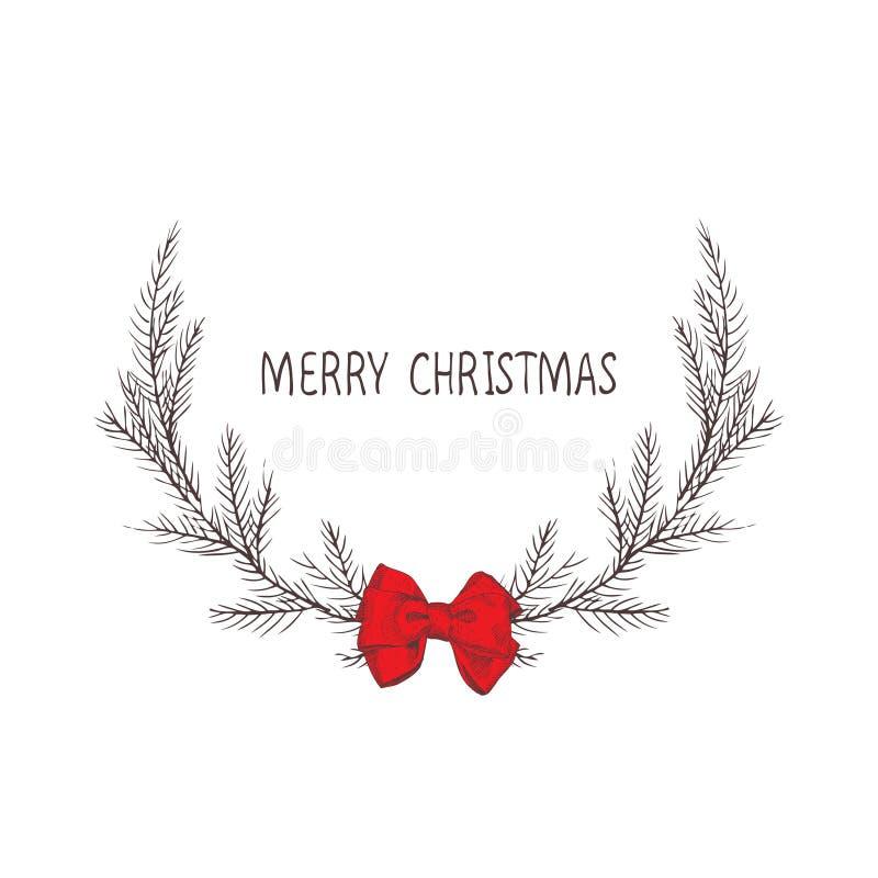 圣诞节花圈的传染媒介图象与弓,冷杉花圈的  圣诞快乐题字在中心 球圣诞节查出的心情三白色 Univers 库存例证