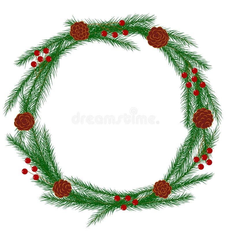 圣诞节花圈的传染媒介图象与杉木锥体和红色莓果的 皇族释放例证