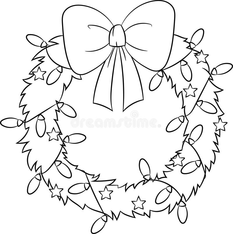 圣诞节花圈的可爱的例证,在黑白,为儿童的彩图完善 皇族释放例证