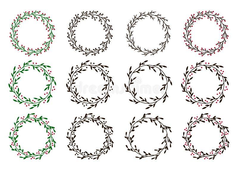 圣诞节花圈的汇集 手拉的邀请,明信片和更多的传染媒介圆的框架 向量例证