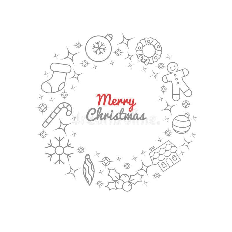 圣诞节花圈稀薄的线象 圣诞节装饰品装饰、糖果棍子、姜房子和人,袜子,霍莉莓果,闪闪发光, l 向量例证