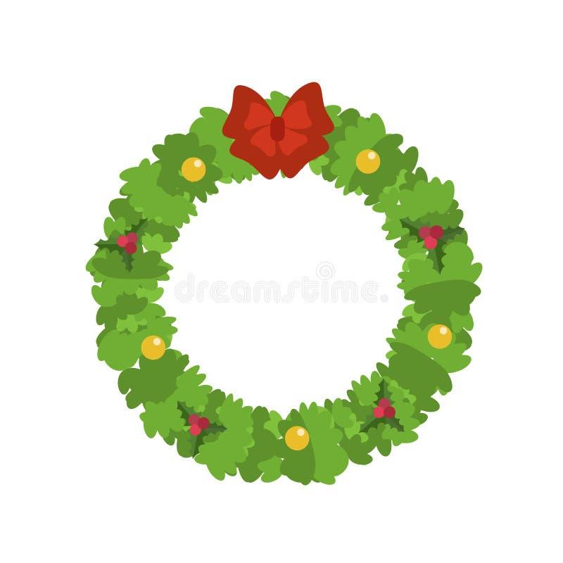 圣诞节花圈象,平的样式 皇族释放例证