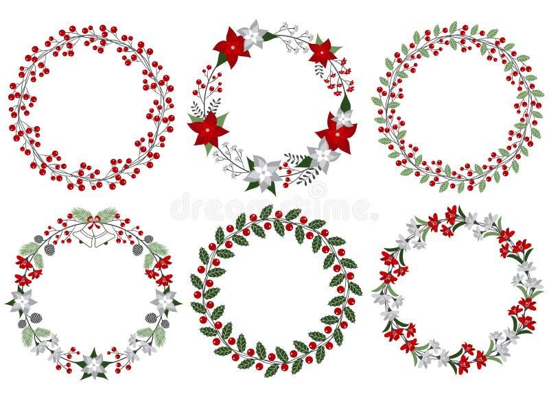 圣诞节花圈集合 库存例证