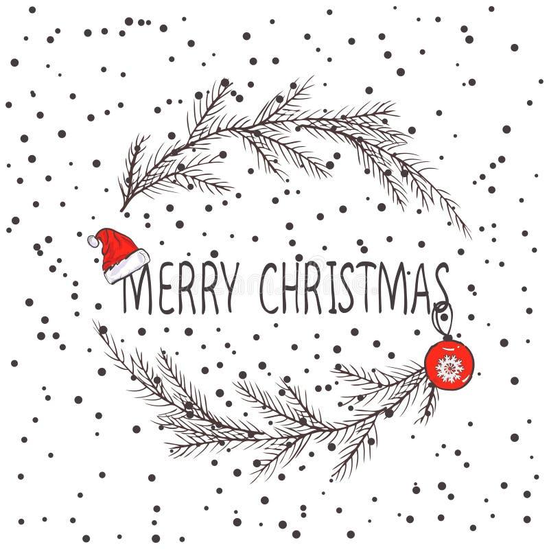 圣诞节花圈,冷杉花圈的传染媒介图象  圣诞快乐题字在中心 球圣诞节查出的心情三白色 普遍用途 库存照片