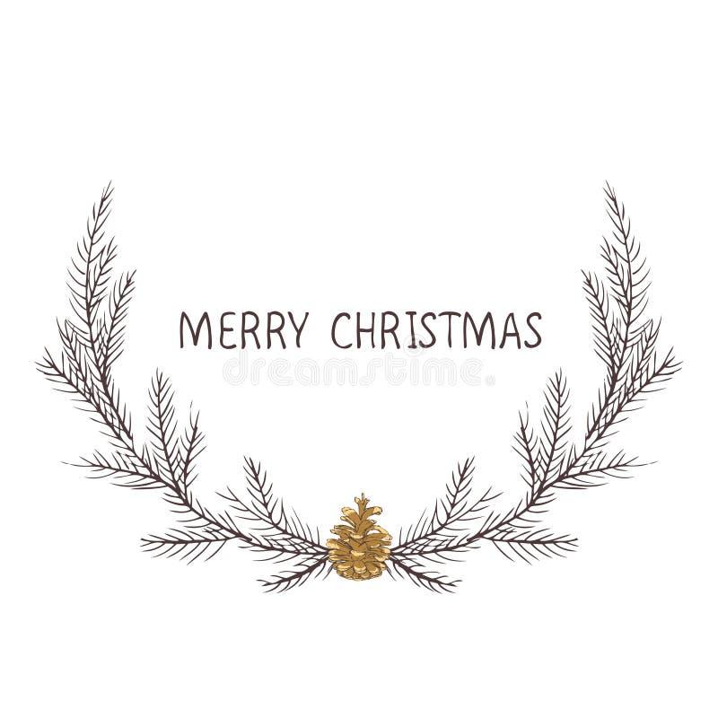 圣诞节花圈,冷杉花圈的传染媒介图象  圣诞快乐题字在中心 球圣诞节查出的心情三白色 普遍用途 库存图片