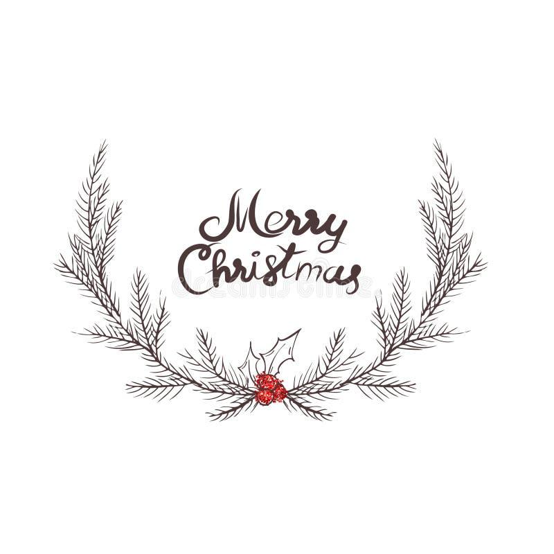 圣诞节花圈,冷杉花圈的传染媒介图象  圣诞快乐题字在中心 球圣诞节查出的心情三白色 普遍用途 图库摄影