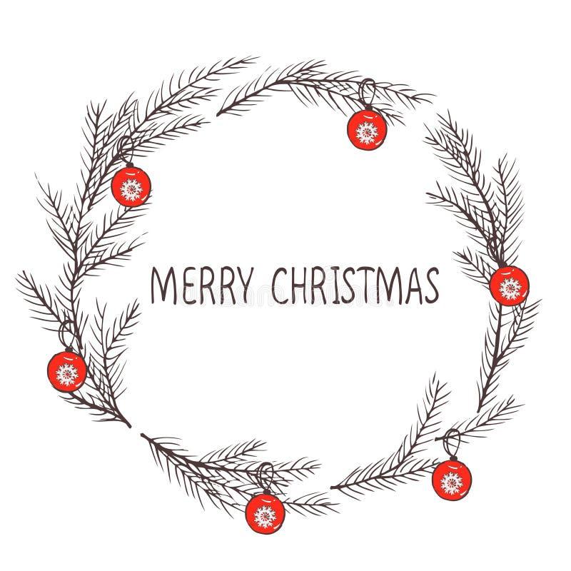 圣诞节花圈,冷杉花圈的传染媒介图象  圣诞快乐题字在中心 球圣诞节查出的心情三白色 普遍用途 皇族释放例证