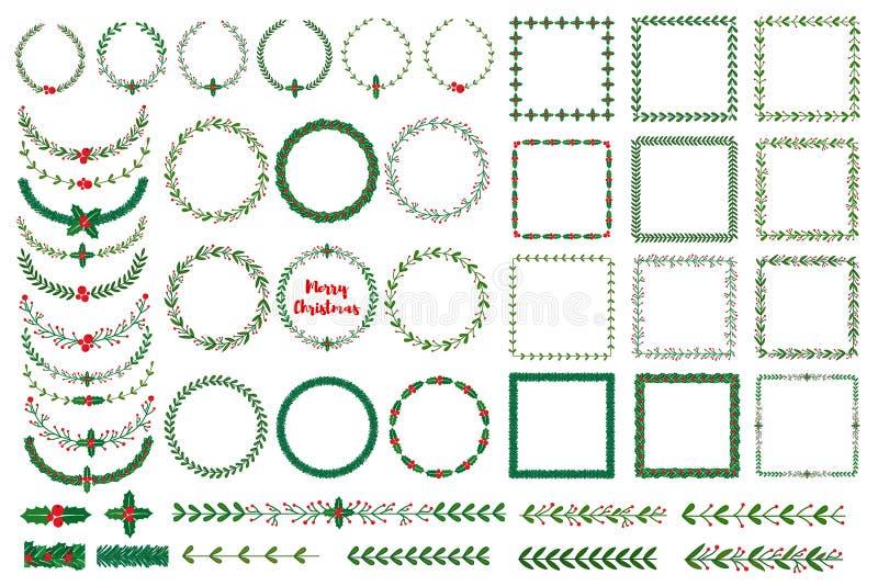 圣诞节花圈,框架,刷子 皇族释放例证
