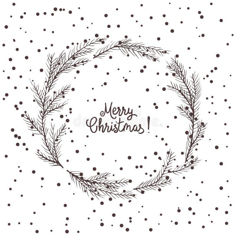 圣诞节花圈,绿色冷杉花圈的传染媒介图象  圣诞快乐题字在中心 球圣诞节查出的心情三白色 普遍我们 库存例证