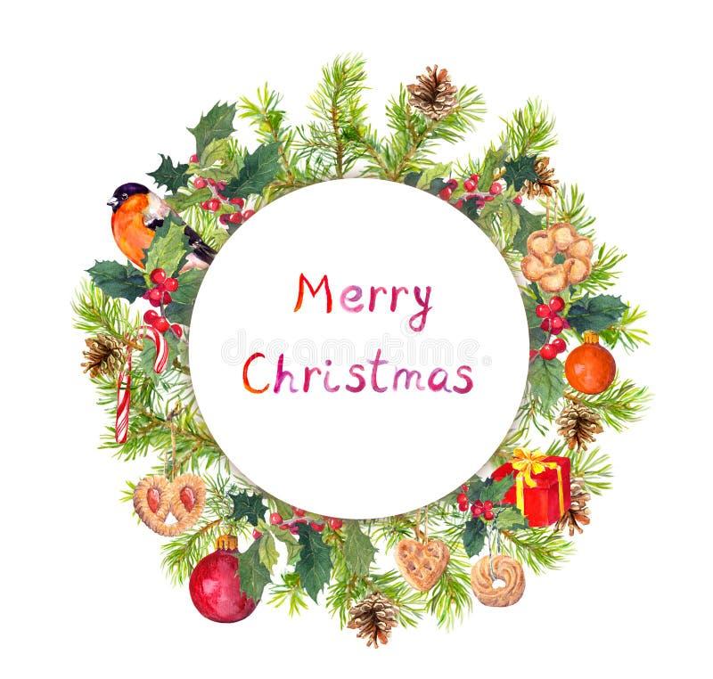 圣诞节花圈-冷杉分支,鸟, candycane,当前箱子 水彩 免版税图库摄影
