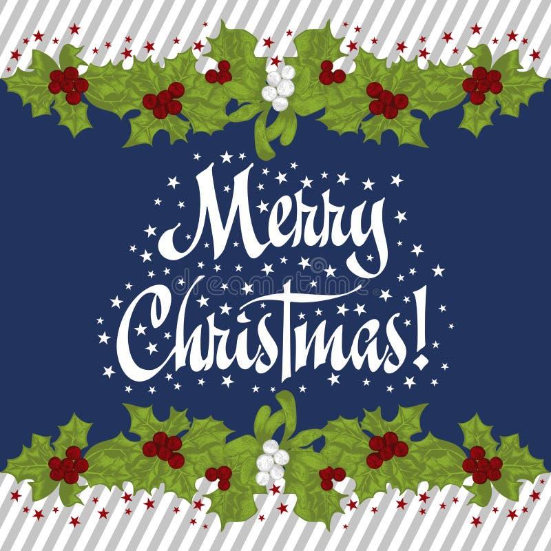 圣诞节花圈 圣诞节 新年度 传染媒介葡萄酒例证 皇族释放例证