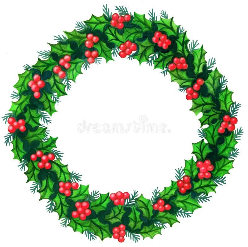 圣诞节花圈水彩 向量例证