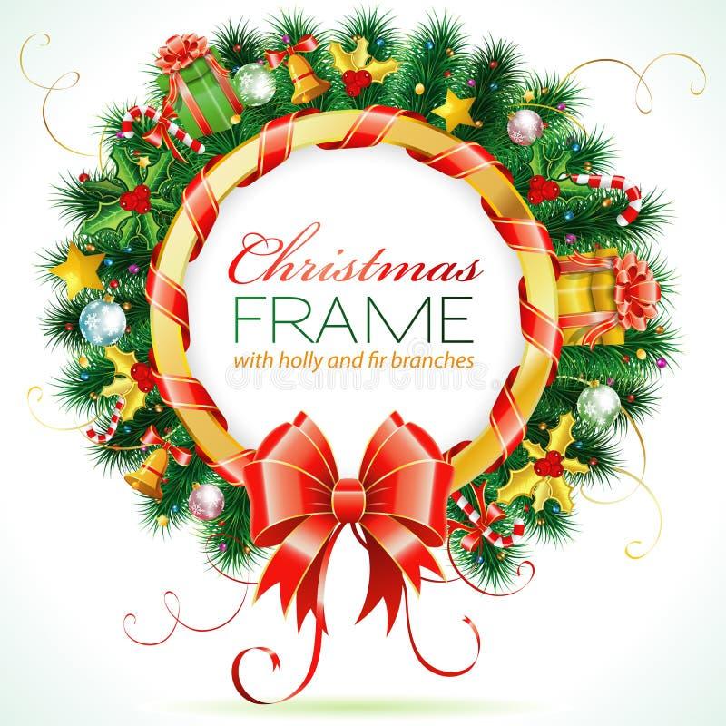 Download 圣诞节花圈 向量例证. 插画 包括有 丝带, 绿色, 响铃, 槲寄生, 礼品, 看板卡, brander - 22359086