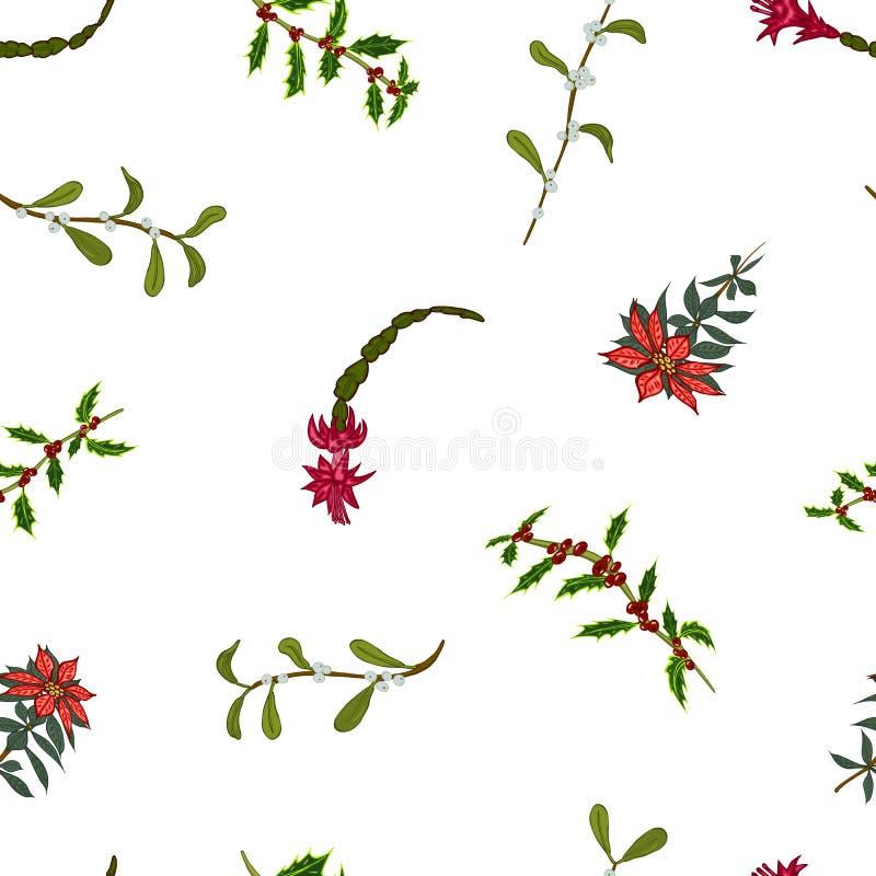 圣诞节花的无缝的样式 纺织品的背景,墙纸,套图画,盖子,表面,印刷品 向量例证