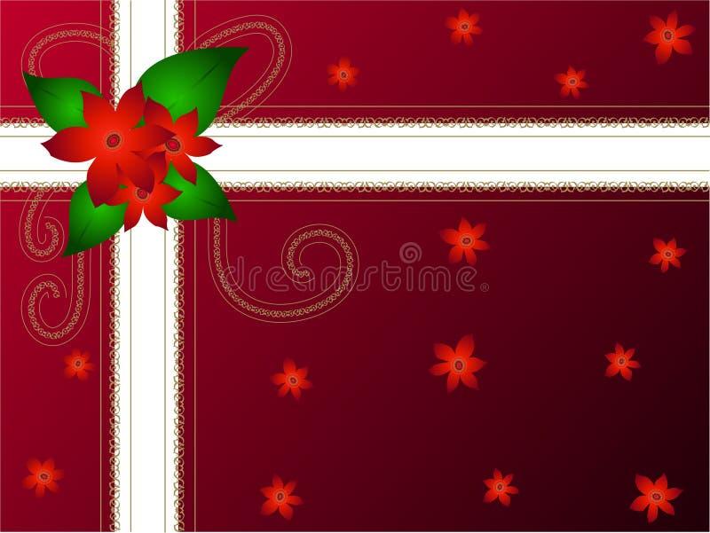 圣诞节花礼品装箱 皇族释放例证