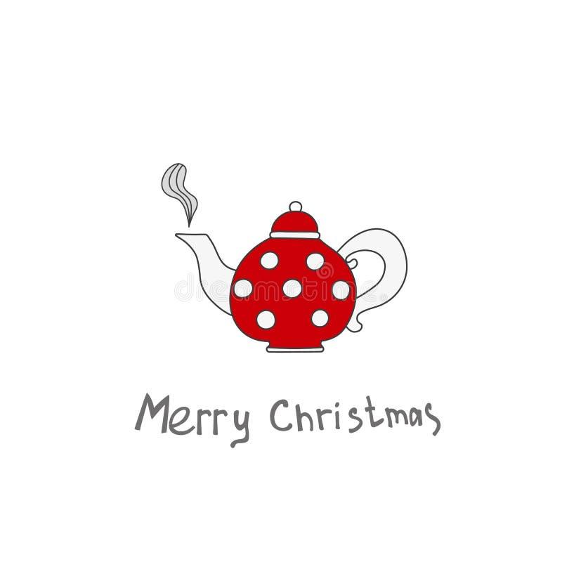 圣诞节茶壶 您的设计海报的,卡片手拉的元素 皇族释放例证