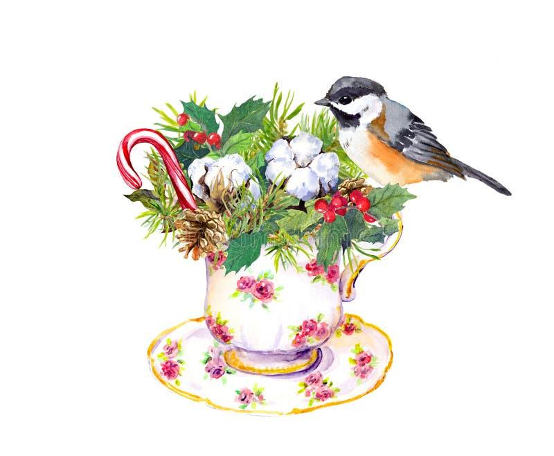 圣诞节茶杯-鸟,圣诞树分支,槲寄生,棉花,新年棒棒糖 水彩 向量例证