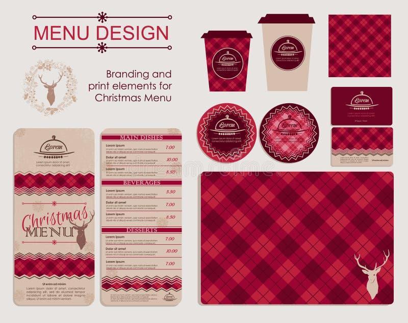 圣诞节菜单的烙记和印刷品元素 免版税库存图片