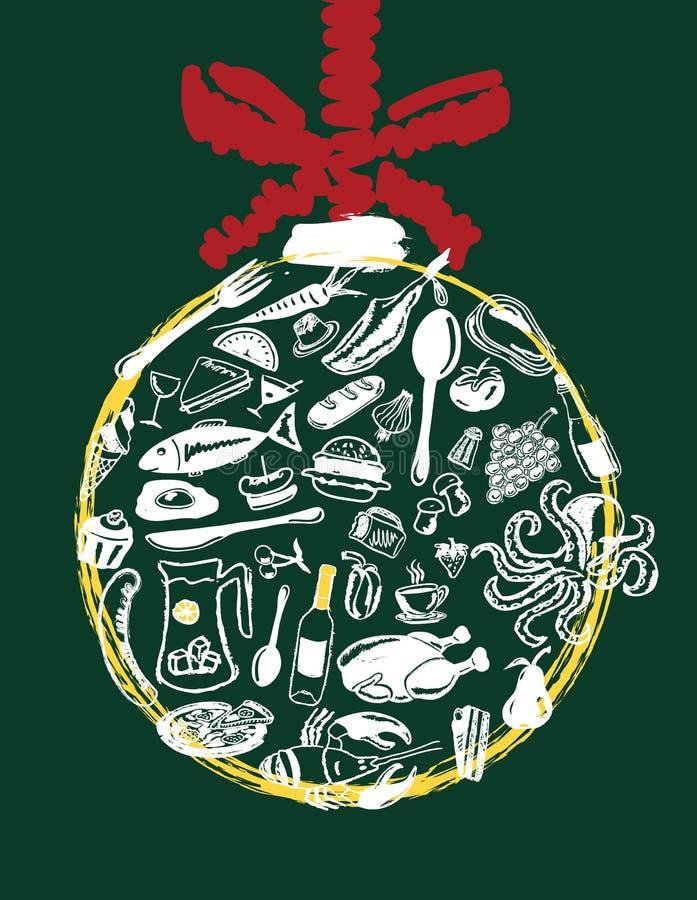 圣诞节菜单 库存例证