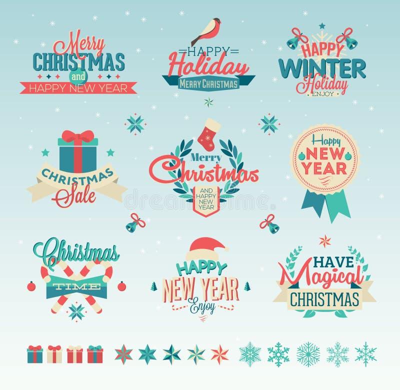 圣诞节葡萄酒印刷术设计 库存例证