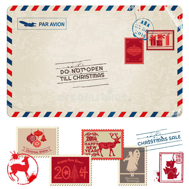 圣诞节葡萄酒明信片 向量例证