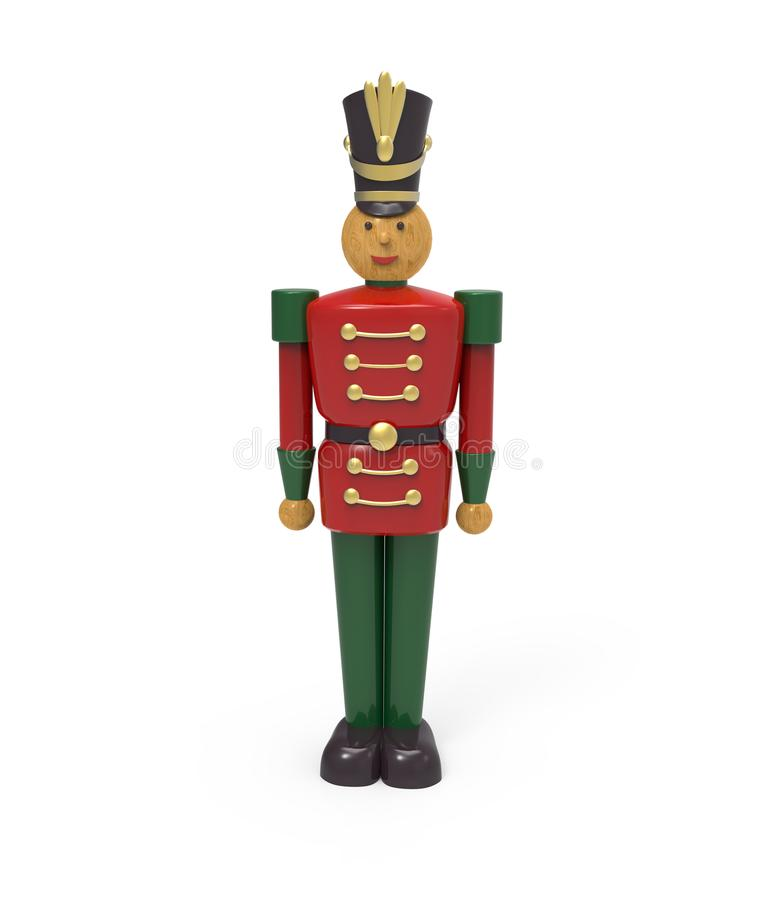 圣诞节葡萄酒木战士玩具 3d柜栏图象牌照 向量例证