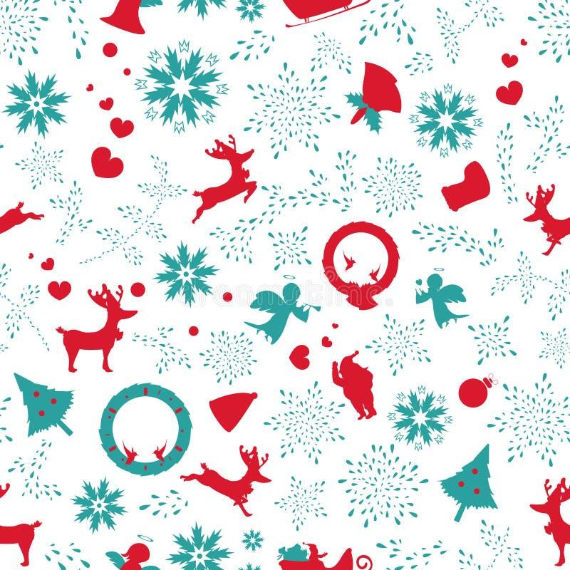 圣诞节葡萄酒,无缝的样式花卉纹理elegants,orn 库存例证
