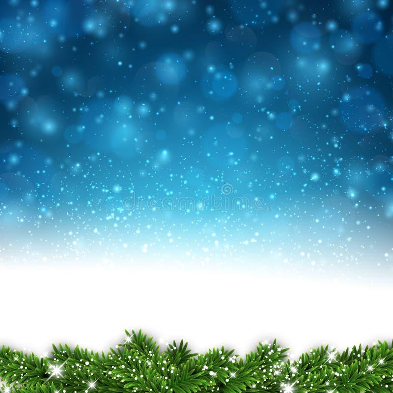 圣诞节蓝色抽象背景 库存例证