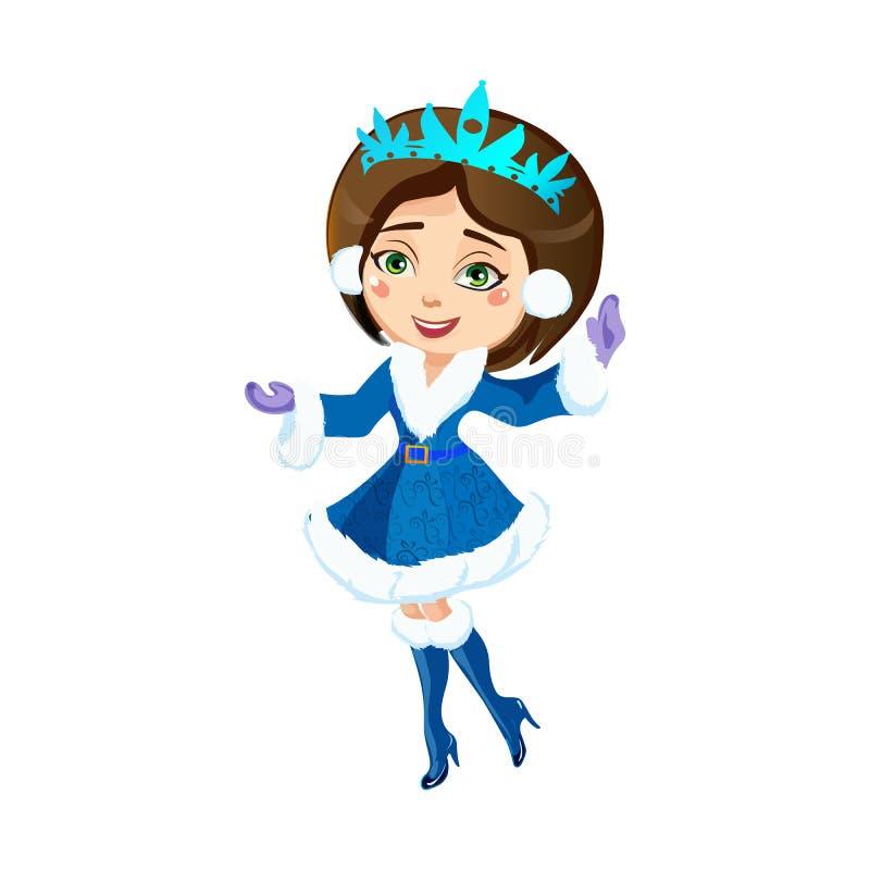 圣诞节蓝色衣服的美丽的女孩和快乐微笑摇了他的手 向量例证