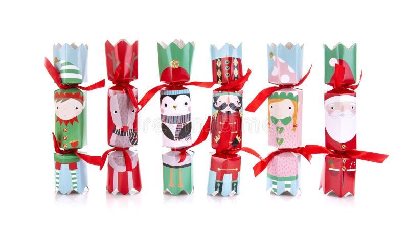 圣诞节薄脆饼干的选择有白色背景 免版税库存图片