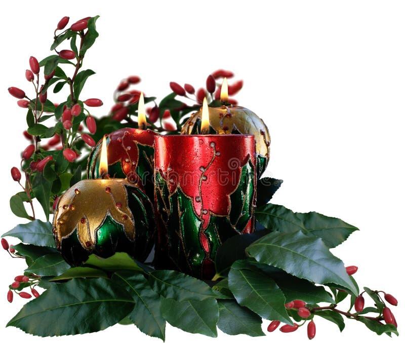 圣诞节蜡烛&叶子 库存照片