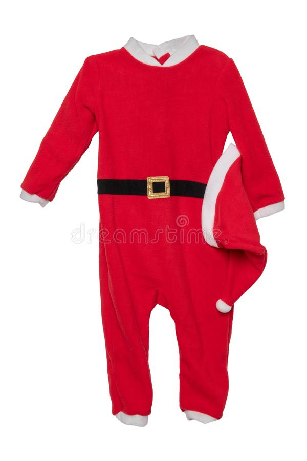 圣诞节衣裳 红色孩子圣诞节圣诞老人项目ju特写镜头  图库摄影