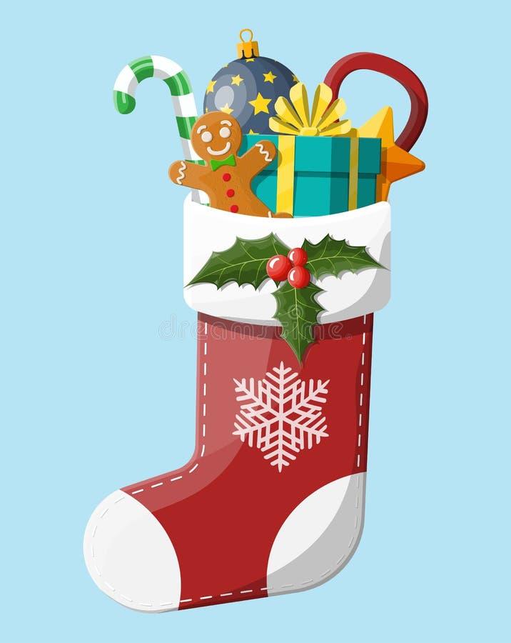 圣诞节袜子长袜 向量例证