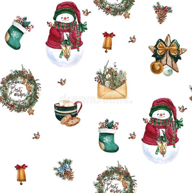 圣诞节袜子,姜饼曲奇饼,圣诞树分支,雪人,桂香,棒棒糖,灯笼 无缝的模式 水彩 库存例证