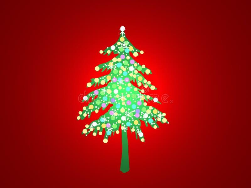 圣诞节被点燃的结构树 库存图片