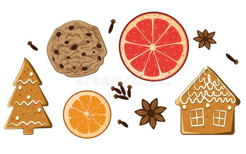 圣诞节被设置的假日甜点 被隔绝的美国曲奇饼、图姜饼,葡萄柚、康乃馨和茴香星 皇族释放例证