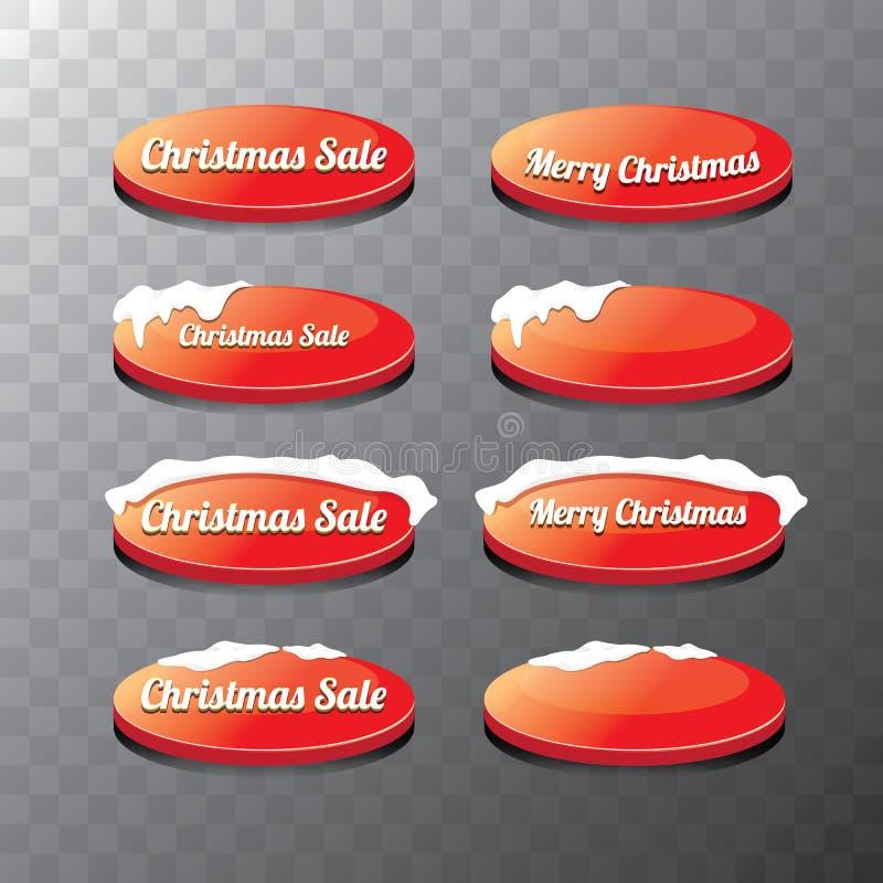 圣诞节被设置的网按钮 冬天网按钮 向量例证